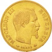 France, Napoleon III, 10 Francs, 1855, Paris, AU(50-53),Gold,KM784.3,Gadoury1014