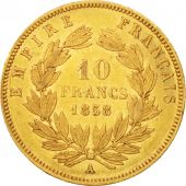 France, Napoleon III, 10 Francs, 1858, Paris, AU(50-53),Gold,KM784.3,Gadoury1014