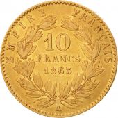 France, Napoleon III, 10 Francs, 1863, Paris, EF(40-45),Gold,KM800.1,Gadoury1015