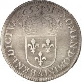 France, Louis XIV, 1/4 Écu à la mèche longue, 1653, Paris, VF(20-25), KM 162.1