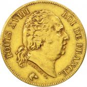 France, Louis XVIII, 40 Francs, 1816, Paris, TB+, Or, KM:713.1, Gadoury 1092