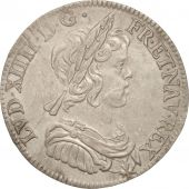 France, Louis XIV, 1/4 Écu à la mèche courte, 1644, Paris, AU(55-58),KM161.1