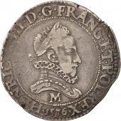 Henri III, Franc au Col Fraisé, 1576, Toulouse, TB+, Argent, Sombart 4720