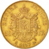 France, Napoléon III, 50 Francs, 1857, Paris, TTB, Or, KM:785.1, Gadoury 1111