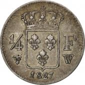 France, Charles X, 1/4 Franc, 1827, Lille, EF(40-45), Silver, KM:722.12