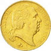 France, Louis XVIII, 20 Francs, 1818, Perpignan, EF(40-45), Gold, KM 712.7