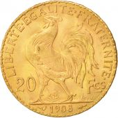 France, Marianne, 20 Francs, 1908, MS(60-62), Gold, KM:857, Gadoury:1064a