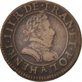 France, Henri III, Double Tournois, 1584, Paris, TB+, Cuivre, CGKL:84