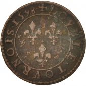 France, Henri IV, Double Tournois, 1598, Paris, TTB, Cuivre, CGKL:222