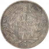 France, 50 Centimes, 1858, Paris, VF(30-35), Silver, KM:794.1, Gadoury:414