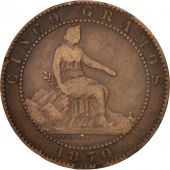 Espagne, Provisional Government, 5 Centimos, 1870, TB+, Cuivre, KM:662