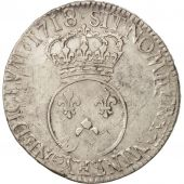 France, Louis XV, Écu Vertugadin, 1718 Reims, VF(30-35), Gadoury:317