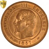Second Empire, 10 Centimes Napoleon III naked head, 1857 A, PCGS MS65RB