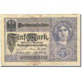 Banknote, Germany, 5 Mark, 1917-1918, 1917-08-01, KM:56b, VG(8-10)