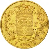 Louis XVIII, second gouvernement royal, 20 Francs or 1818 Lille, KM 712.9