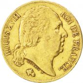 Louis XVIII, 20 Francs or buste nu 1822 Lille, KM 712.9