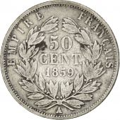 Second Empire, 50 Centimes Napoléon III tête nue 1859 Paris, KM 794.1