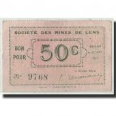 France, Lens, 50 Centimes, 1914, SUP, Pirot:62-803