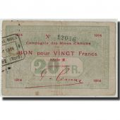 France, Aniche, 20 Francs, 1914, VF(20-25), Pirot:59-75
