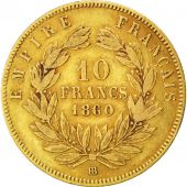 Second Empire, 10 Francs or Napol�on III t�te nue, 1860 BB, Strasbourg, Gadoury 1014