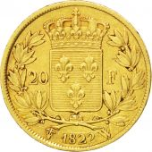 Louis XVIII, 20 Francs or buste nu, 1822 W, Lille, Gadoury 1028