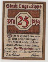 Notgeld, Lippe-Detmold, Lage, 25 Pfennig 1921, Mehl 757.2