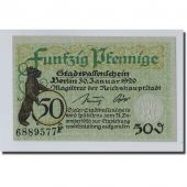 Banknote, Germany, Berlin Stadt, 50 Pfennig, ours, 1920, 1920-01-30, UNC(63)