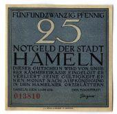 Billet, Allemagne, Hameln, 25 Pfennig, personnage, 1921, 1921-06-01, SPL