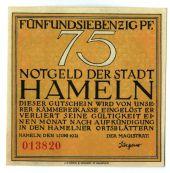 Billet, Allemagne, Hameln, 75 Pfennig, personnage, 1921, 1921-06-01, SPL