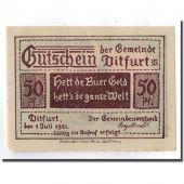 Billet, Allemagne, Ditfurt Gemeinde, 50 Pfennig, paysage, 1921, 1921-07-01, SPL