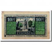 Billet, Allemagne, Eisenberg Stadt, 10 Pfennig, fontaine, O.D, SPL, Mehl:322.1a