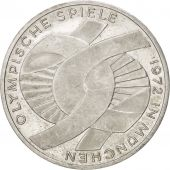 GERMANY - FEDERAL REPUBLIC, 10 Mark, 1972, Karlsruhe, KM:131, MS(60-62), Silver