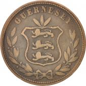 Guernsey, 8 Doubles, 1864, Heaton, KM:7, TB, Bronze