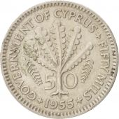 Cyprus, 50 Mils, 1955, KM:36, TB+, Copper-nickel