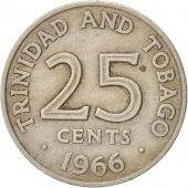 TRINIDAD & TOBAGO, 25 Cents, 1966, Franklin Mint, EF(40-45), Copper-nickel, KM:4