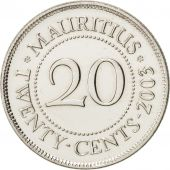 Mauritius, 20 Cents, 2003, SPL+, Nickel plated steel, KM:53