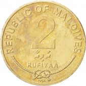 MALDIVE ISLANDS, 2 Rufiyaa, 1995, SUP+, Nickel-brass, KM:88