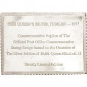 Great Britain, Silver Jubilee stamp, Medal, 1977, AU(55-58), Silver, 61x45mm
