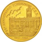 Italie, European coinage test, 1 ecu, Politics, Society, War, Medal, 1992, SU...