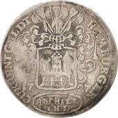 German States, HAMBURG, 8 Schilling, 1/2 Mark, 1727, Hamburg, EF(40-45), Silv...