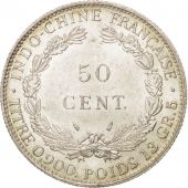 FRENCH INDO-CHINA, 50 Cents, 1936, Paris, MS(63), Silver, KM:4a.2