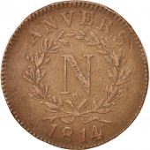 FRENCH STATES, ANTWERP, 10 Centimes, 1814, TB, Bronze, KM:5.4