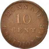 FRENCH STATES, ANTWERP, 10 Centimes, 1814, VF(20-25), Bronze