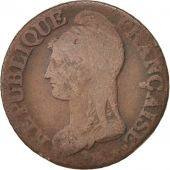 France, Dupré, 5 Centimes, 1796, Paris, B+, Bronze, KM:640.1, Gadoury:126