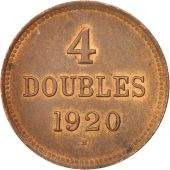 Guernsey, 4 Doubles, 1920, Heaton, MS(60-62), Bronze, KM:13