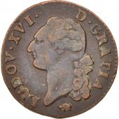 France, Louis XVI, Sol ou sou, Sol, 1784, Lyon, VF(30-35), Copper, KM:578.5