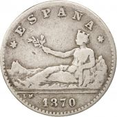 Espagne, Provisional Government, 50 Centimos, 1870, Madrid, TB+, Argent, KM:651