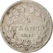 France, Louis-Philippe, 1/2 Franc, 1841, Paris, TB, Argent, KM:741.1