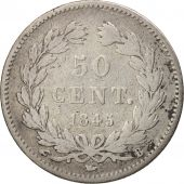 France, Louis-Philippe, 50 Centimes, 1845, Paris, VF(20-25), Silver, KM:768.1
