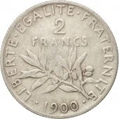 France, Semeuse, 2 Francs, 1900, Paris, VF(20-25), Silver, KM:845.1, Gadoury:532